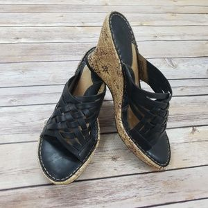 Black leather woven Born espadrille wedge 8